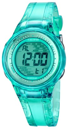 Calypso Women's Digital Watch with Turquoise Dial Digital Display and Turquoise Plastic Strap K5688/4