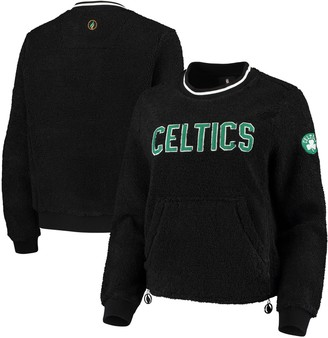 Women's Black Boston Celtics Sherpa Pullover Jacket with Zipper Detail