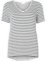 Dorothy Perkins Womens **Vila Navy and White Striped V-Neck T-Shirt