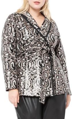 ELOQUII Leopard Sequin Jacket