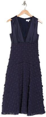 Reiss Leni Lace Trim Jacquard Dot Midi Dress