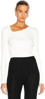 Loewe Ribbed Asymmetric Collar Sweater in White   FWRD