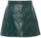 Valentino Scallop Detail Leather Mini Skirt