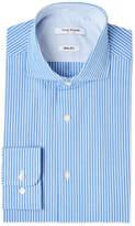 Isaac Mizrahi Blue & White Stripe Slim Fit Dress Shirt