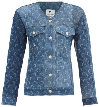 Marine Serre Collarless Moon-print Recycled-cotton Denim Jacket - Denim