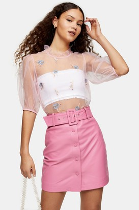 Topshop Pink Embroidered Open Back Organza Blouse
