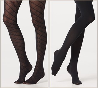 Legacy Diagonal Plaid & Solid Control Top Tights Set of 2