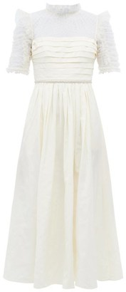 Self-Portrait Crystal-belt Polka-dot Tulle & Taffeta Dress - Ivory