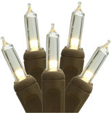 Asstd National Brand Set Of 50 Warm White LED Mini Christmas Lights 4 Spacing with Brown Wire