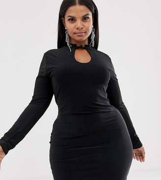 New Girl Order Curve slinky bodycon dress with high neck with cut out detail-Black