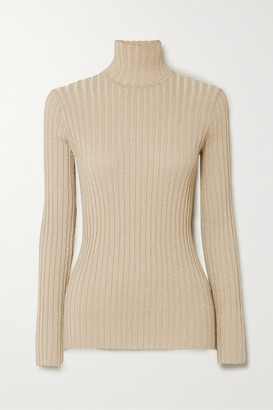 Victoria Victoria Beckham Metallic Ribbed-knit Turtleneck Sweater - Gold