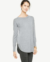 Ann Taylor Extrafine Merino Wool Side Zip Round Hem Sweater