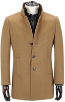 Ding Tong ® Men Cashmere Wool Coat with Fur Collar Winter Slim Fit Outwear (L)