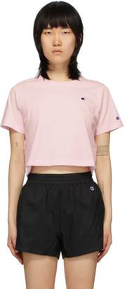 Champion Reverse Weave Pink Cropped Logo T-Shirt