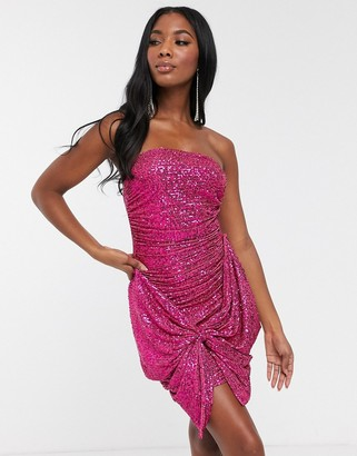 Club L London sequin bandeau oversized bow dress in pink