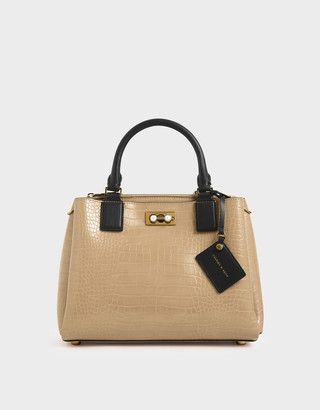 Charles & Keith Croc-Effect Large Structured Bag