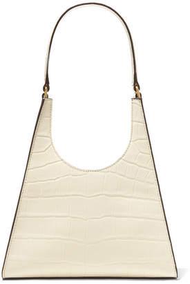 STAUD Rey Croc-effect Leather Shoulder Bag - Cream
