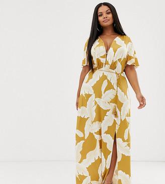 Asos DESIGN Curve floral flutter sleeve maxi dress with tassel belt