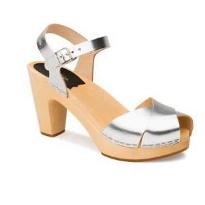 Swedish Hasbeens Silver Merci Sandals - 37 - Silver/Wood