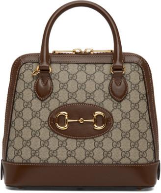 Gucci Beige and Brown GG Supreme 1955 Horsebit Top Handle Bag