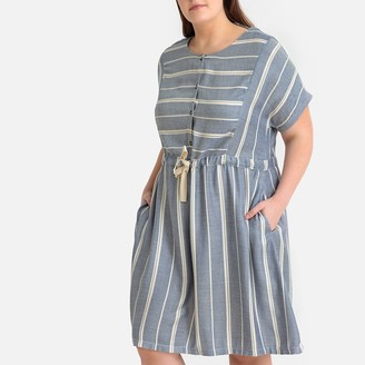 Castaluna Plus Size Denim Striped Drawstring Waist Dress