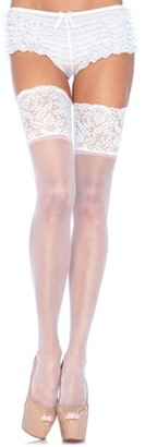 Leg Avenue Women's Sheer Thigh Highs with Silicone Lace Top, White, One Size