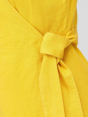 Very Linen Wrap Dress - Yellow