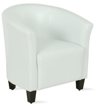 Everly Quinn Enrique Barrel Chair Fabric: Black Faux leather