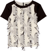 Karl Lagerfeld Fringed piqué and satin-crepe top