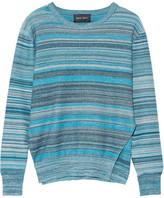 Baja East Mélange Striped Cotton Sweater - Jade