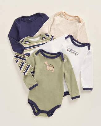 Luvable Friends Newborn Boys) 5-Pack Long Sleeve Dinosaur Bodysuits