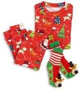 Toddler's & Little Boy's Three-Piece Snuggle Moon Christmas Pajama and Socks Set