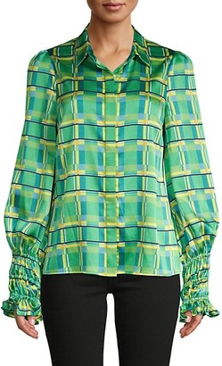 Alexis Catina Check Puff-Sleeve Blouse