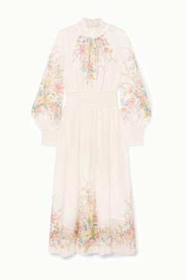 Zimmermann Zinnia Ruffled Shirred Floral-print Ramie-gauze Maxi Dress - Ivory