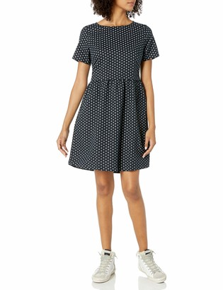 Goodthreads Amazon Brand Women's Relaxed Fit Washed Linen Blend Short-Sleeve Fit and Flare Dress with Pockets