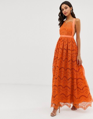 Asos Design DESIGN maxi dress in cutwork broderie-Multi