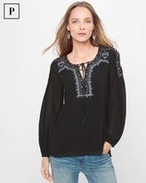 White House Black Market Black Embroidered Peasant Blouse