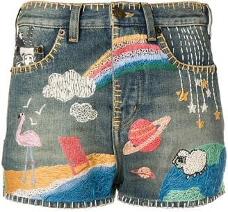 Saint Laurent Embroidered Shorts