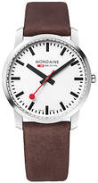 Mondaine A638.30350.11sbg Unisex Simply Elegant Leather Strap Watch, Dark Brown/white