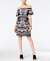INC International Concepts Petite Embroidered Off-The-Shoulder Fit & Flare Dress, Only at Macy's