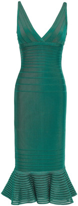 Herve Leger Fluted Tulle-paneled Bandage Dress