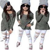 Morecome 1Set Kids Baby Girls Outfit T-shirt Tops Long Pants (4-5Y, )