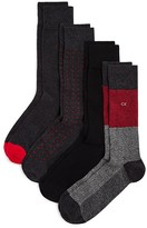 Calvin Klein Mixed Pattern Dress Socks - Pack of 3 + 1 Bonus Pair