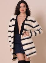 Missy Empire Angelina Cream Striped Fluffy Cardigan
