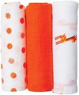 lulujo lulujo Llj Mini Muslin Cloths - my Giraffe - 3 Pack, White/Orange - Cotton Muslin - White/Orange - 3 ct