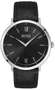 BOSS Hugo Men's Essential Ultra Slim Black Leather Strap Watch 40mm