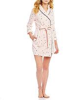 Kate Spade Confetti Heart-Print French Terry Wrap Robe