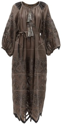 Vita Kin - Mirela Floral-embroidered Linen Dress - Dark Grey