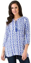 Haggar Women's Tie-Neck Print Tunic
