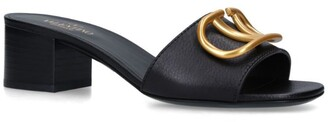 Valentino Garavani Leather V Slide Mules 45
